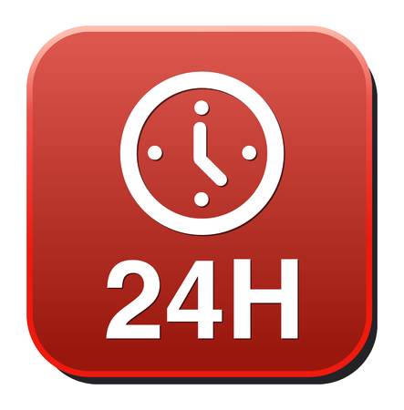 24 hours a day icon isolated on white background Vector