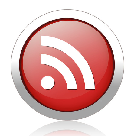 glossy web button with RSS feed sign Vector