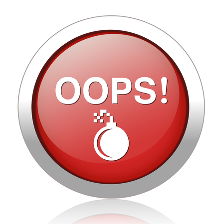 button with the word Oops Illustration