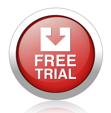 free trial: Free trial blue button Illustration