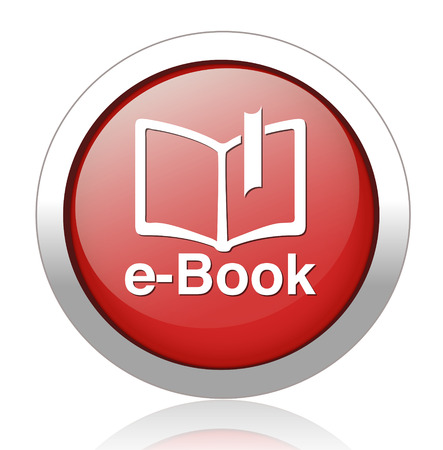 e-book blue glossy icon on white background Vector