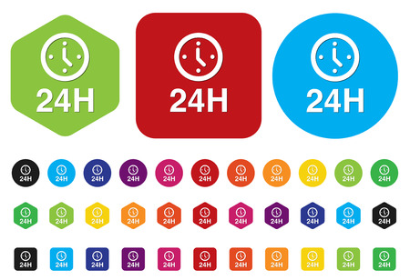 24 hours: 24 hours a day icon isolated on white background Illustration