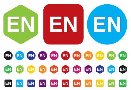 en: English language sign icon, EN translation symbol