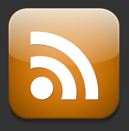 really simple syndication: web button with RSS feed sign