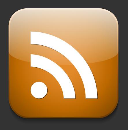 syndication: web bot�n con el signo RSS feed Vectores