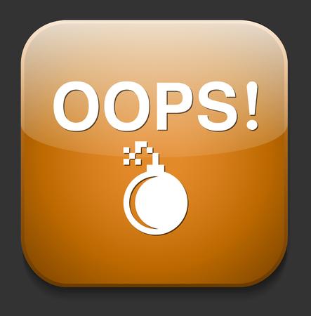 oups: bouton avec le mot Oops