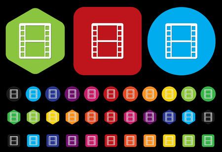 35mm film motion picture camera: film strip reel icon Illustration