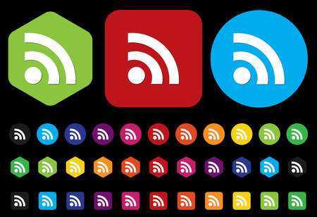 quadrate pictogram: web button with RSS feed sign