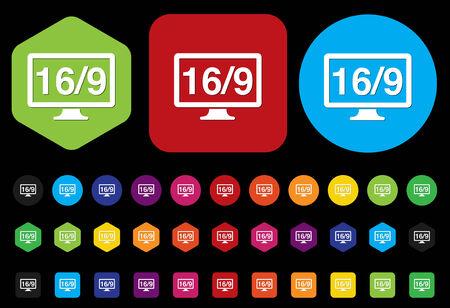 16 9: 169 display icon
