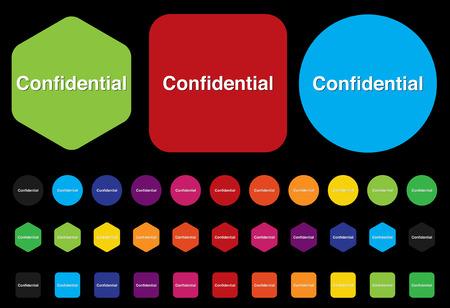 confidential top secret classified private information  button  Vector