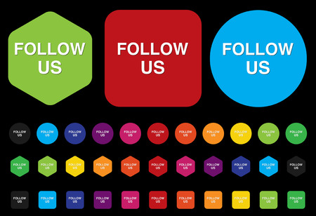 Social media or social network concept follow us button Vector