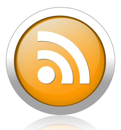 rss feed: glossy web button with RSS feed sign