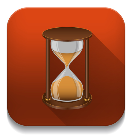 sand timer: sand timer icon With long shadow over app button