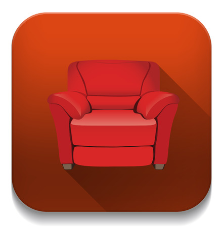 leather armchair With long shadow over app button Vector