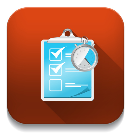 check list icon with stopwatch With long shadow over app button Vector