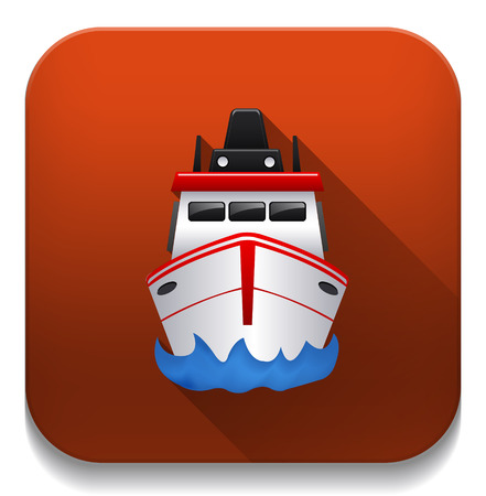 inflate boat: boat icon With long shadow over app button