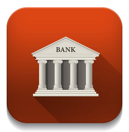 white bank building icon With long shadow over app button Vector