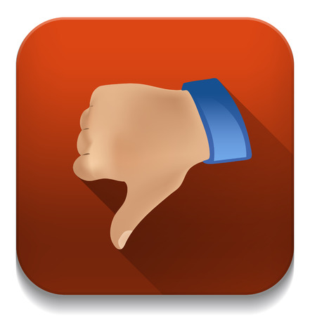 disapprove: Dislike thumbs down icon With long shadow over app button
