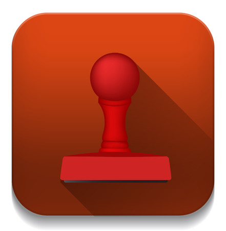 rubber stamp icon With long shadow over app button Vector