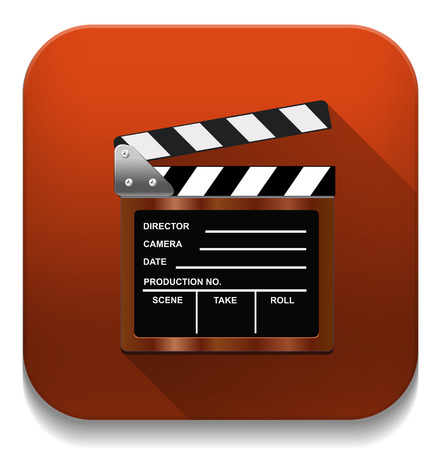Empty film clapper With long shadow over app button Vector