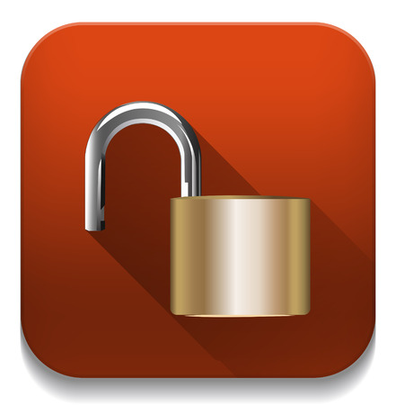 security concept with locked combination pad lock With long shadow over app button Vector