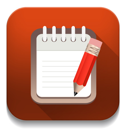 writing pad: writing pad With long shadow over app button Illustration