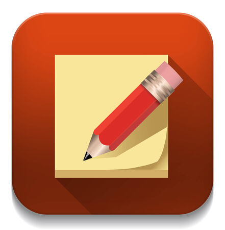 notes and pencil icon With long shadow over app button Vector