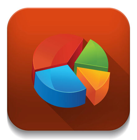 pie chart With long shadow over app button Vector