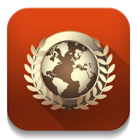 world award icon With long shadow over app button Vector