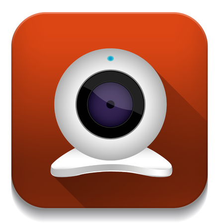 white webcam icon With long shadow over app button Vector