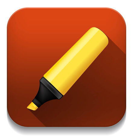 yellow highlighter pen  With long shadow over app button Illustration