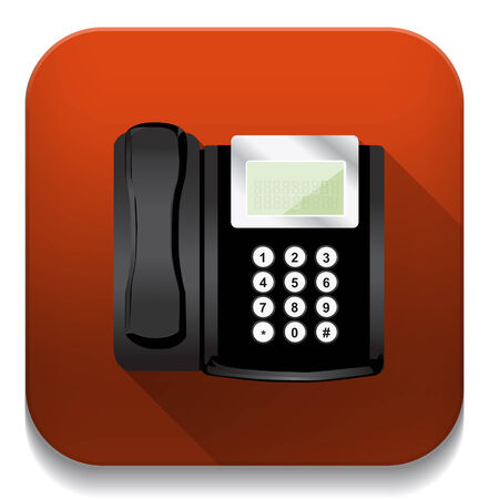 black phone With long shadow over app button Vector