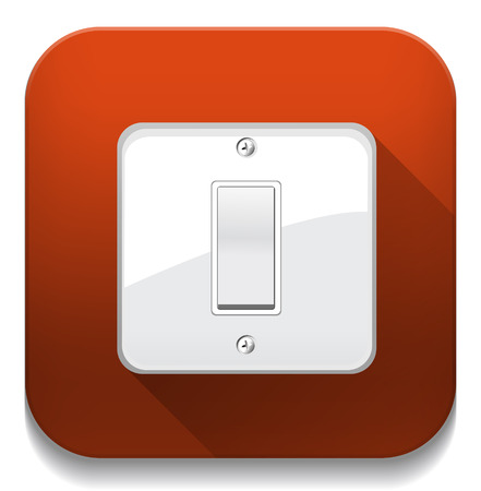OnOff switch. With long shadow over app button Vector
