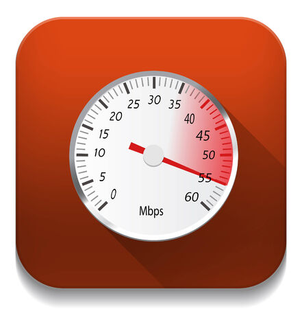 Speed Icon With long shadow over app button Vector