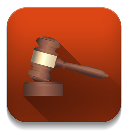 hummer: A wooden judge gavel and soundboard With long shadow over app button