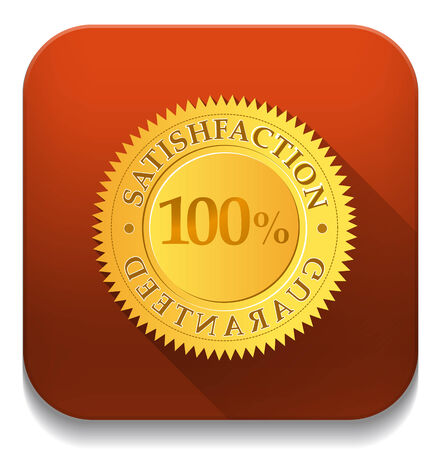 satisfaction guaranteed With long shadow over app button Vector