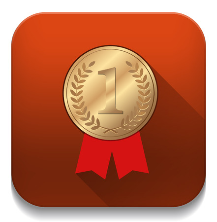 Number One winner ribbon With long shadow over app button Vector