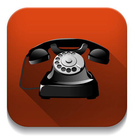 old telephone With long shadow over app button Vector