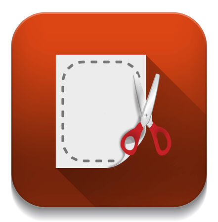 cut document icon With long shadow over app button Vector