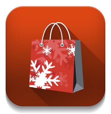 shopping bag With long shadow over app button Vector