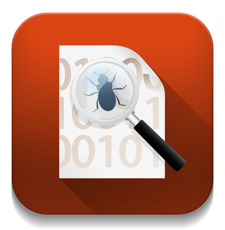 virus scan icon With long shadow over app button Vector