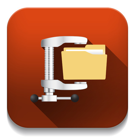 illustration of computer zip folder icon With long shadow over app button Vector