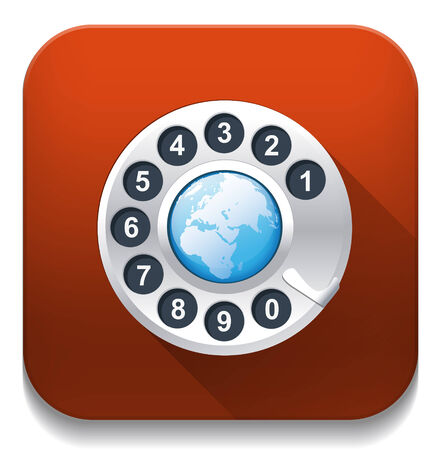 world phone With long shadow over app button Vector