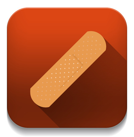 adhesive plaster: adhesive plaster icon With long shadow over app button Illustration