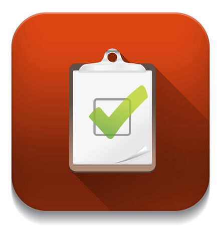 check list icon With long shadow over app button Vector