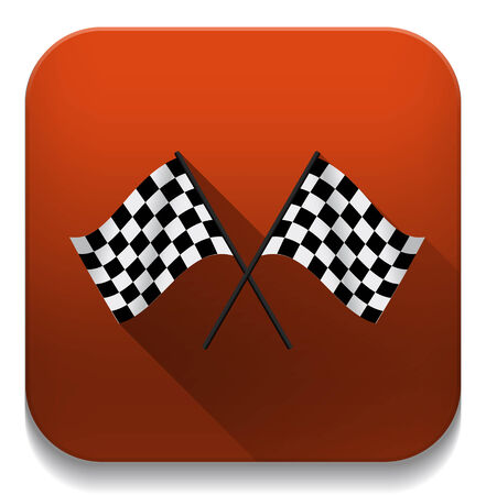 Black and white leather flags football (soccer) or racing flags With long shadow over app button Vector