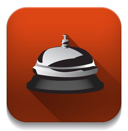 service bell icon With long shadow over app button Vector