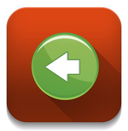 back and forward arrow icon With long shadow over app button Vector