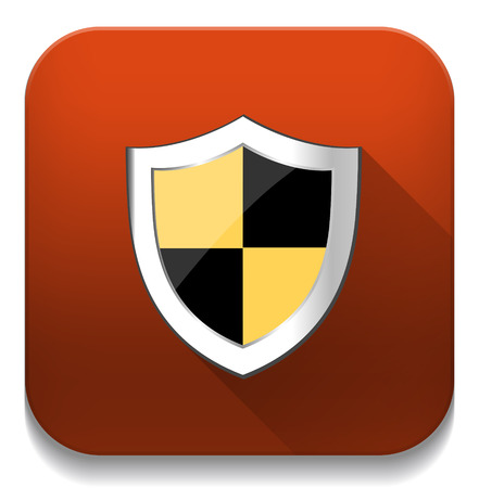 shield security icon With long shadow over app button Vector