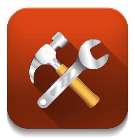 tools icon With long shadow over app button Vector